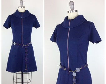 70s Navy Blue Polyester Mini Dress / 1970s Vintage Front Zip Dress With Belt / Small / Size 2