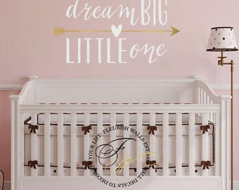 Nursery Wall Decal - Dream Big Little One Quote Decor with Gold Vinyl Arrow For Baby Nursery And Boys Or Girls Room Wall Art CQ028