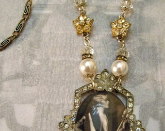 "Jazz Age Lovely ""Merle Finley"" Cabachon w/Art Deco Buckle Necklace"