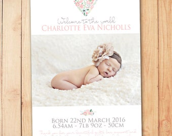 Floral Birth Announcement Card