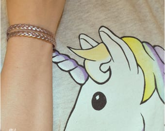 """Bracelet woman / braid / leather / handmade / for her /  """"UNICORN"""" Collection"""
