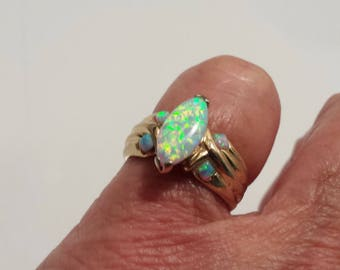 australian opal ring size 9 1/2 1980's gold vermeil estate vintage sterling ring excellent flash