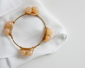 Stones bangle peach quartz flower stacking bracelet jewelry gift for her customize jewelry