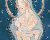 """Carte postale d'art """"Mater Misericordiae"""", illustration Vierge Marie et enfant Jésus, image sainte/ pieuse/ religieuse/ Noël, Olga Valeska"""