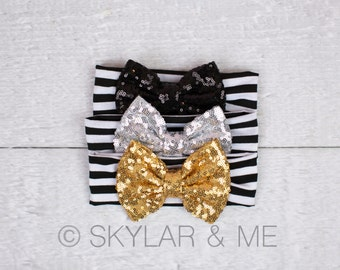 Baby girl Headband, Sequin trim headband, Newborn Headband, Infant Headband, Headband, Photo Prop