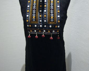 Black Cotton Brocade Straight Dress.