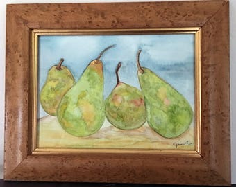 "Original Watercolor Art, Framed, Pears, Still Life, 12.25"" x 10"""