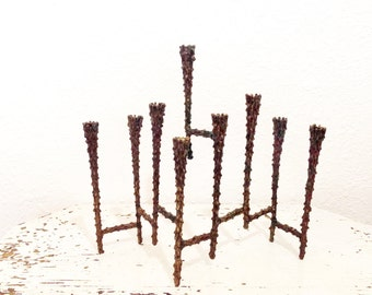 Brass Hanukkah Menorah - Brutalist Mid Century Modern Chanukah Menorah / Brass Judaica / Brutalist Lighting / Candelabra