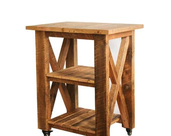 Rolling Cabinet / Workbench made from reclaimed wood - small table - workbench