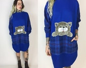 80's CAT Sweater Dress - Flannel Long Sleeve Cat Sweatshirt Large Baggy Pullover Sleep Shirt - Pouch Pocket Cat Sweater - Royal Blue Plaid