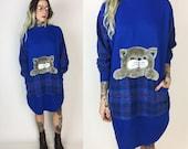 80er Jahre CAT Pullover Kleid - Flanell Katze Sweatshirt große weite Pullover Schlaf Hemd mit langen Ärmeln - Pouch Tasche Katze Pullover - Royal Blue Plaid