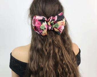 90's Floral Bow Clip French Clip  - Black Flower Print French Clip Large Bow Hair Barrette - Nineties Hipster Grunge Hair Accessory Bow Clip