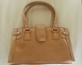 "Vintage~Liz Claiborne~Handbag~Purse~Tan Flux~Alligator Finish Patten Leather~Dress or Casual~10"" wide~Pocketbook~Bag~Womens Accessorie~Nice"