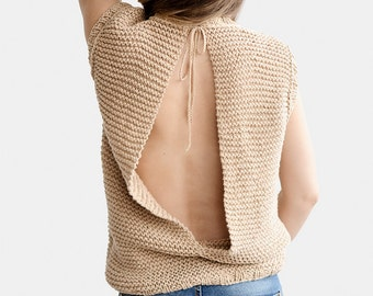 Split Back Top, Open Back Top, Knit Backless Blouse, Split Back Sweater, Knit Summer Top, Open Back Sweaters