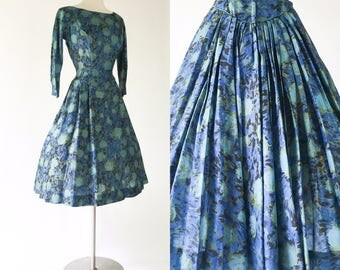 vtg 50s blue floral silk pinup party cocktail dress / full skirt / ultra pleated details / plunging back / dropped waist / navy & sky blues