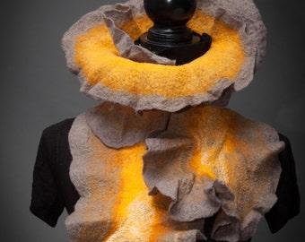 """Felted Grey Golden Shawl """"Candlelight"""" (Nuno felted scarf, merino wool,silk, wrap shawl, felted art, handmade)"""