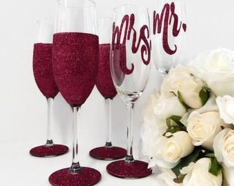 6 Gifts Personalised Toasting Flute Set of 6 Custom Design Wedding Glasses Made in Australia Ruby Wedding Glitter Glass Rio