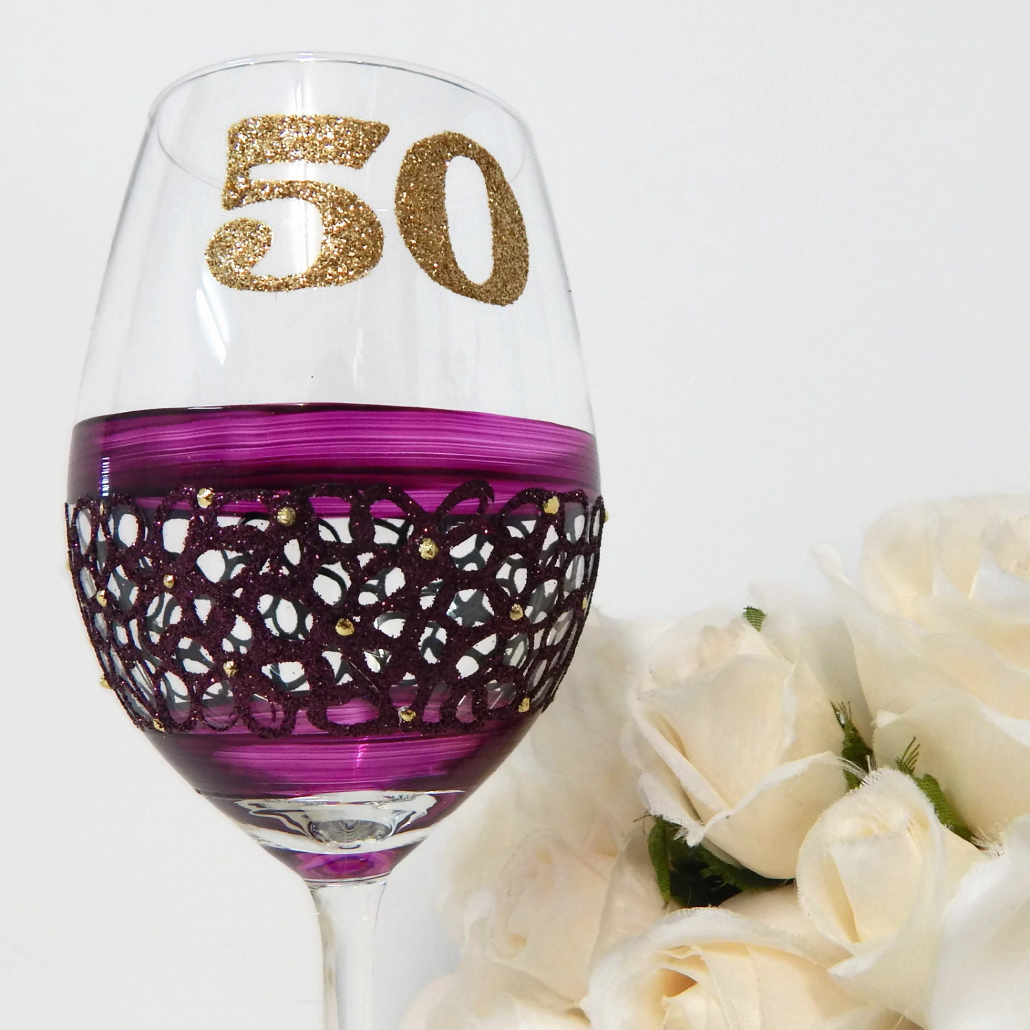 On Sale 50th Birthday Wine Glass Gifts And By InaSpinNiquesWay