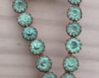 Vintage green rhinestone dress ornament