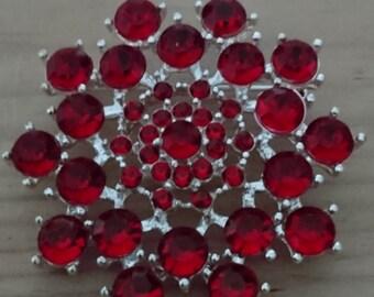 Vintage red rhinestone brooch
