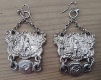 Unusual vintage sterling silver earrings
