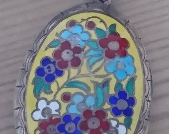 Large vintage sterling silver enamel locket