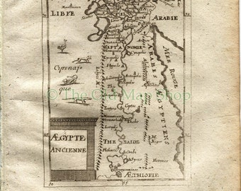 "1719 Manesson Mallet ""Aegypte Ancienne"" Ancient Egypt, River Nile, Libya, Arabia, Antique Map, Print"