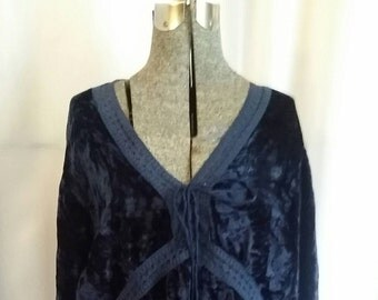 Shop closing Vintage renaissance blouse Peasant blouse navy blue blouse crush velvet chiffon top