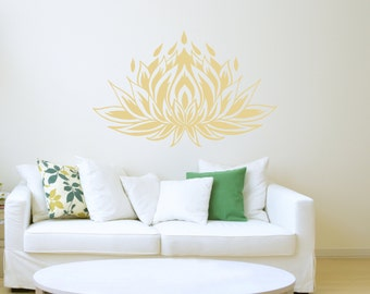 Lotus Flower Wall Decal Yoga Studio Vinyl Sticker Bedroom Decals Home Decor Boho Bohemian Bedding L455