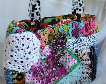 Bohemian bag purse Boho Hippie Chic Doilies small rhinestone crazy wild