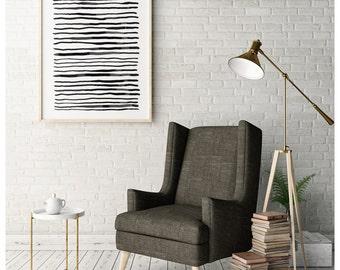 Black And White Abstract Art, Minimalist Print, Large Wall Art, Modern Minimal, Line Art, Gray Wall Art, 24x36 Poster, Abstract Drawing