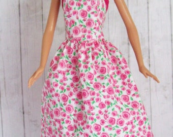 Handmade,  Barbie Clothes, Pink Rose Dress,  Fashion Doll Clothes, Floral, Doll Dress, Doll Clothes, Pink Dress, Barbie Fashion