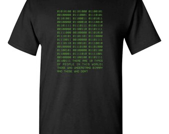 Binary Funny Computer Programmer Math Adult Mens T-Shirt 100% Cotton Black
