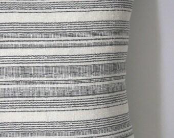 Woven Grey and Cream, Beige, or Navy Hmong Boho Striped Decorative Pillow cover Grey 20x20 Pillow Woven Throw Pillow Cover -1925