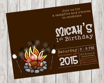 S'mores Birthday Party Invitation for Bonfire Birthday