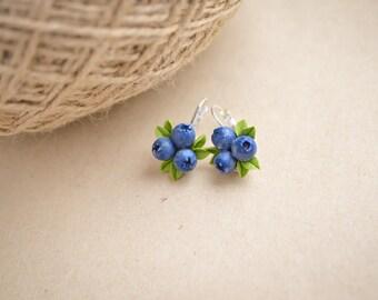Blueberry earrings, Berries earings, Clay berry jewelry, Natural earrings, Sterling silver jewelry, Fimo earrings