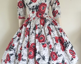 50% OFF SALE Beautiful 50's Red and Grey Floral Party Dress / Small
