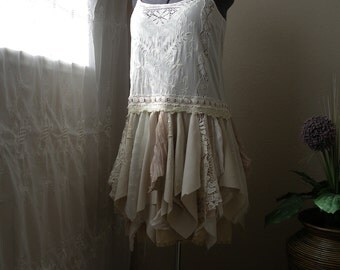 Antique and Off White Boho Tattered Fairy Dress and Jacket/ Upcycled Silk, Lace, Chiffon, Cotton Alternative Wedding Dress/ Medium to Large