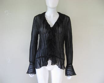 black sheer striped textured ruffle blouse - large