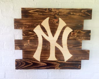 New York Yankees baseball wood sign with hand burned logo // gifts for him // baseball // mancave // New York Yankees//Man Cave Sign