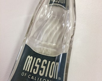 Vintage Pop Bottle, Spoon Rest, Recycled Bottle, Slumped Bottle, Recycled Pop Bottle, Mission Pop Bottle, Vintage Mission Pop Bottle