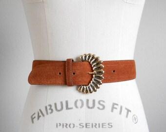 70s, 80s vintage belt - suede belt rust brown belt -  70s/80s American in London belt