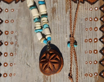 Carved Avocado Seed and Turquoise Neclace // Buffalo Horn Beads // Ceremonial // Tribal // Shaman Jewelry