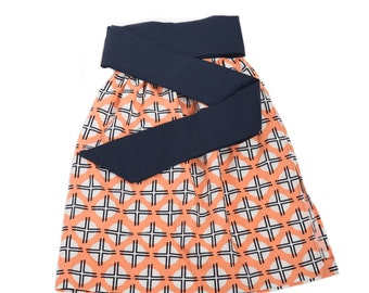 Orange SunDot - Womens Half Apron, Gifts for women, Aprons, Half Aprons, Housewarming Gifts, Navy and Orange Apron, Gifts for Cooks