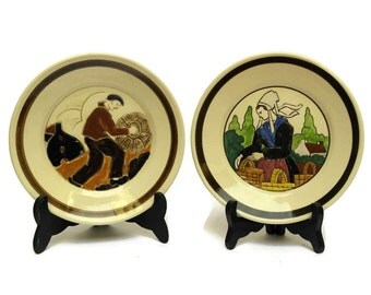 Pair of Old Quimper Pottery Wall Plates with Breton Man & Woman. Signed HB Quimper. Hand Painted French Faience Plates.