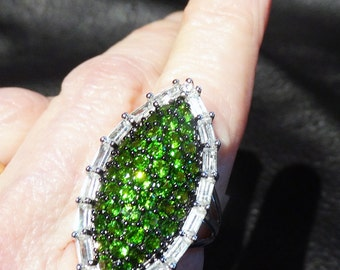 Siberian Emerald Ring, Chrome Diopside, White Topaz, Sterling Silver, Statement Ring