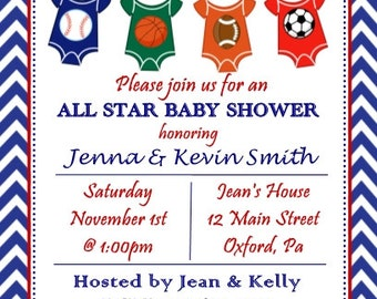 10 All Star Sport Themed Baby Shower Invitations Envelopes Included