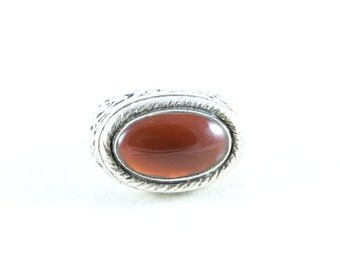 Sterling Silver Carnelian Band Ring Size 8