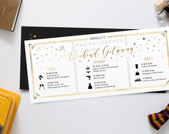 Itinerary Bachelorette Weekend Invitation - Black and Gold Starry Night Modern Invites - Weekend Getaway