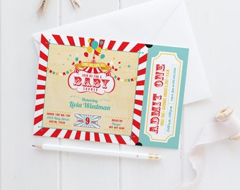 Vintage Carnival Baby Shower Party Invitations - Circus Ticket Invites - Printable or Printed